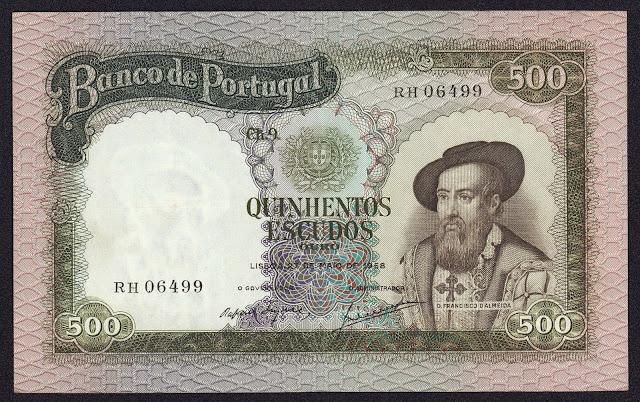 Portugal Banknotes 500 Escudos banknote 1958 Dom Francisco de Almeida