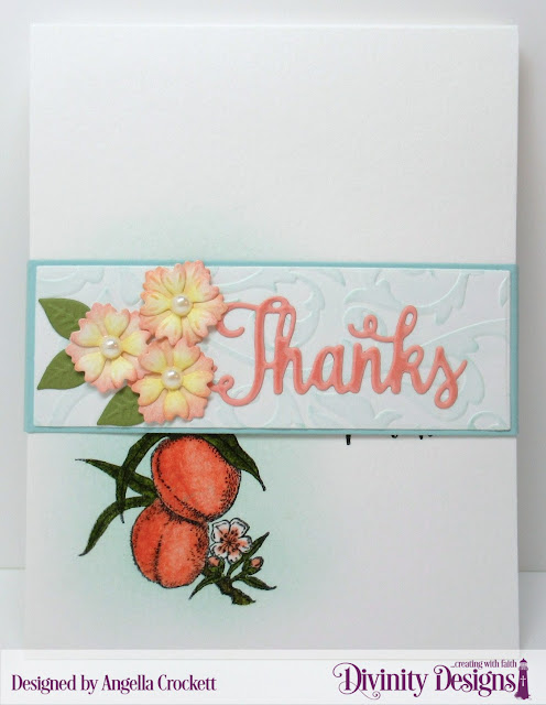 Divinity Designs Custom Belly Band Dies, Bitty Blossoms Dies, Flourishes Embossing Folder, Thanks for Everything Stamp/Die Duos, Created by Angie Crockett