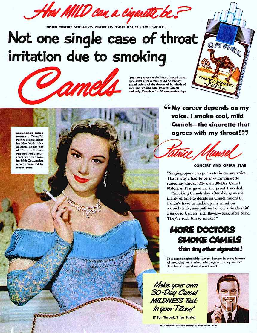 1951 opera singer Patrice Munsel for Camels cigarettes advertisement