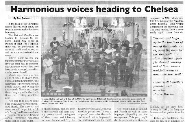 Harmonious Voices - upcoming Nov 26th Stairwell Caroller concert  -- newspaper article by Ben Bulmer