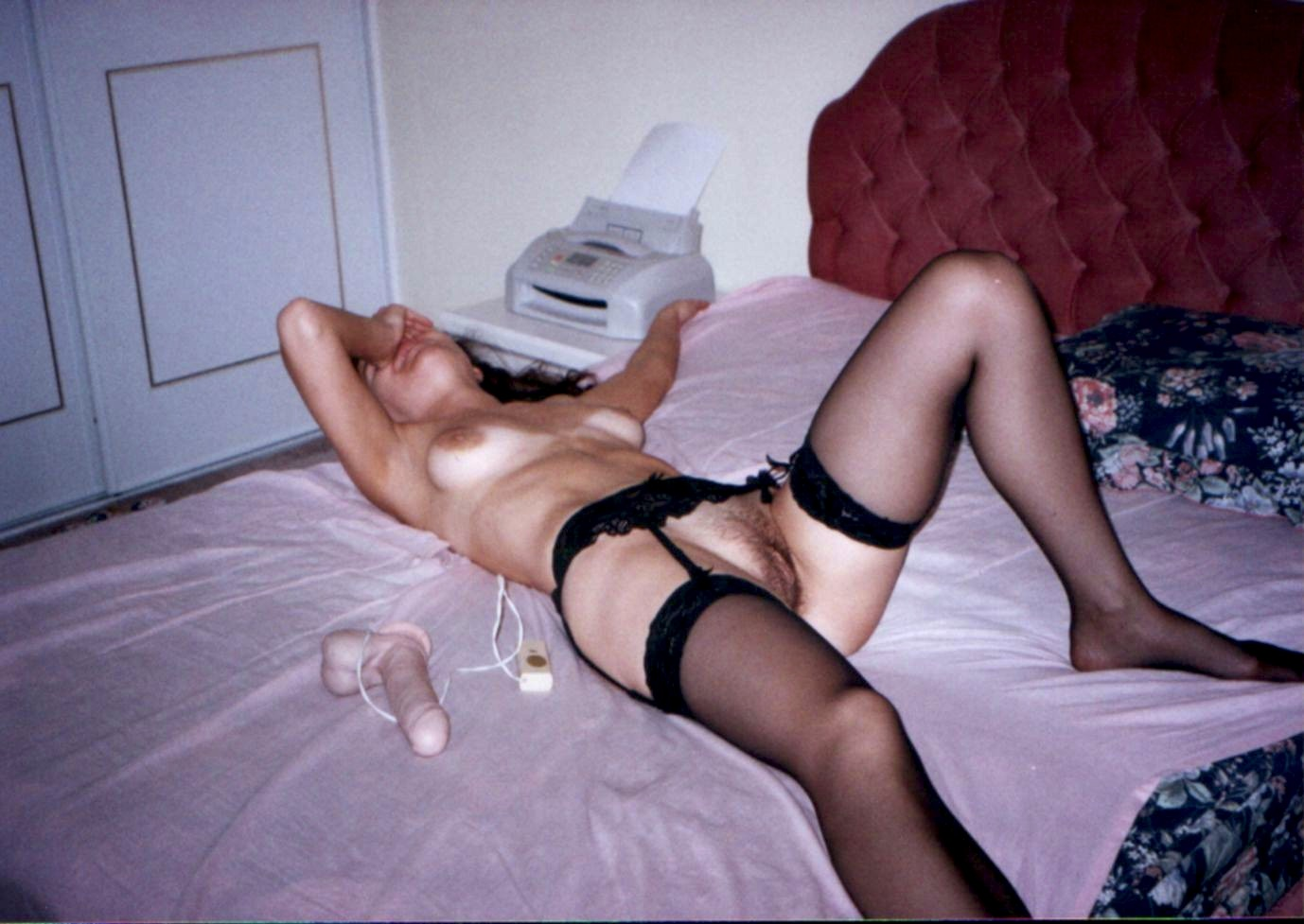 Solo toying wife with massive natural knockers 9