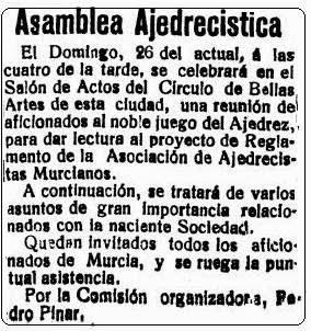 Sobre el nacimiento de la Federación Murciana de Ajedrez, La Verdad, 25 noviembre 1922