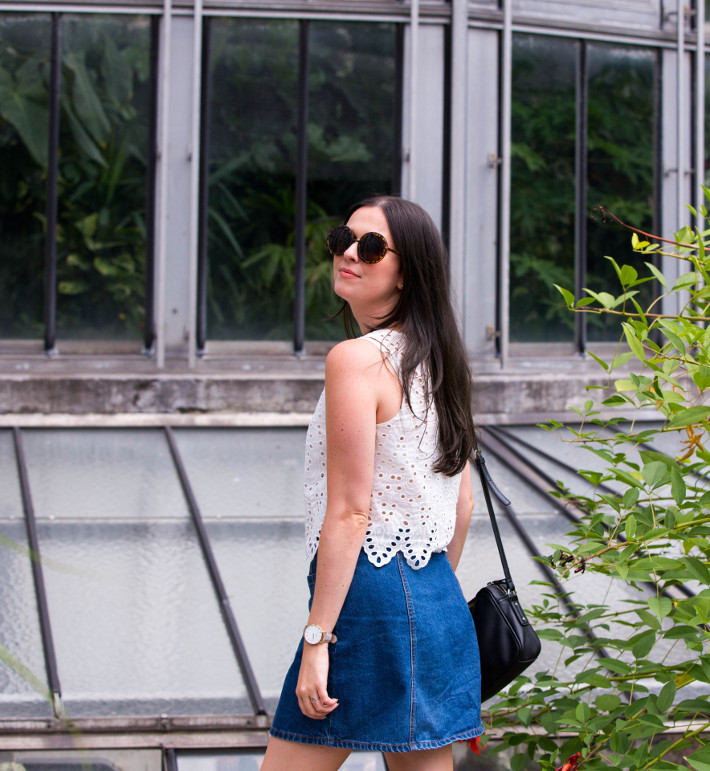 70s style in eyelet top and denim a-line skirt