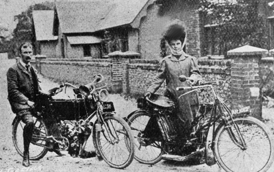 Photograph of Mrs. M. A. Cooke, headmistress of Water End school 1902-22, who was a pioneer motor-cyclist. This photograph of July 1907 shows her with her husband. She had been elected a member of the Motor Cycling Club of Great Britain during that year.