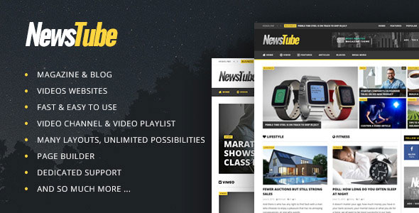 Free download NewsTube – Magazine Blog & Video WordPress theme