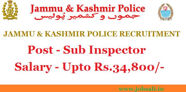 SI Notification 2017, jobs in jammu, jobs in kashmir