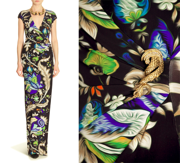 floral prints, prints, roberto cavalli, dresses, long dress, roberto cavalli dress, print dress, prints in fashion