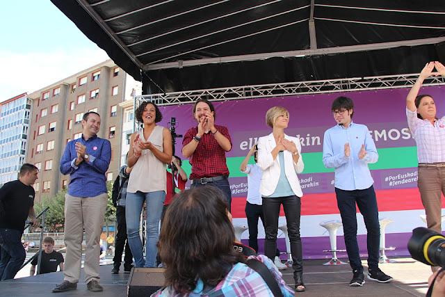 Mitin de Pablo Iglesias en la campaña de las elecciones vascas