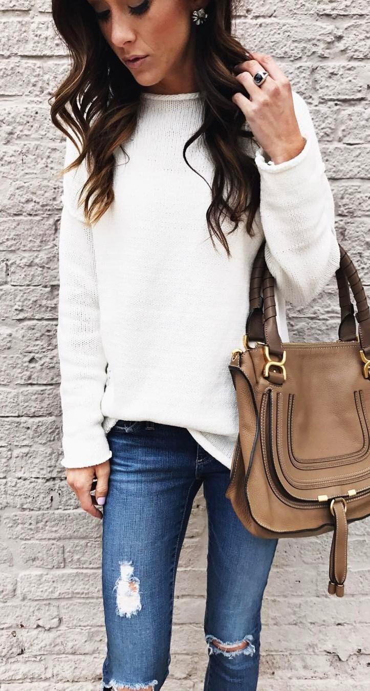 trendy ootd / white sweater + rips + bag