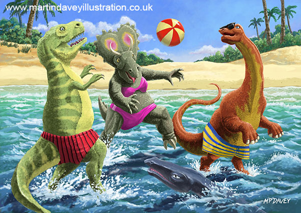 dinosaur fun playing Volleyball on a beach vacation digital painting