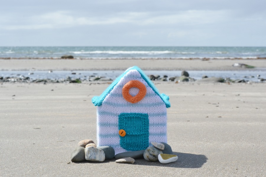 beach hut stripes knitting amanda berry fluff and fuzz yarn along beach photos scotland