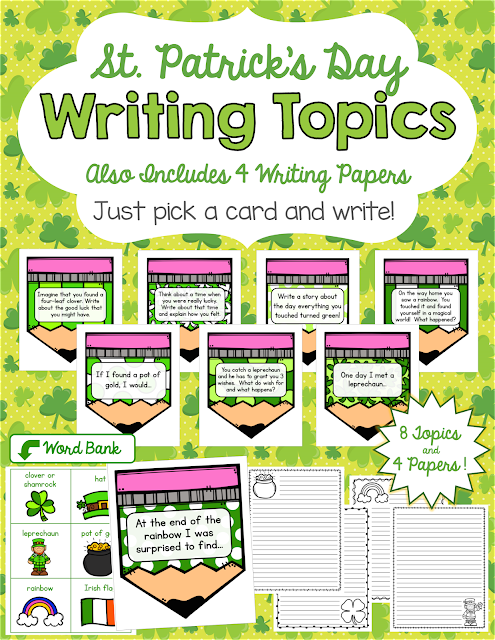 https://www.teacherspayteachers.com/Product/FREEBIE-St-Patricks-Day-Writing-Prompts-Papers-2432054