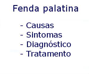 Fenda palatina causas sintomas diagnóstico tratamento riscos