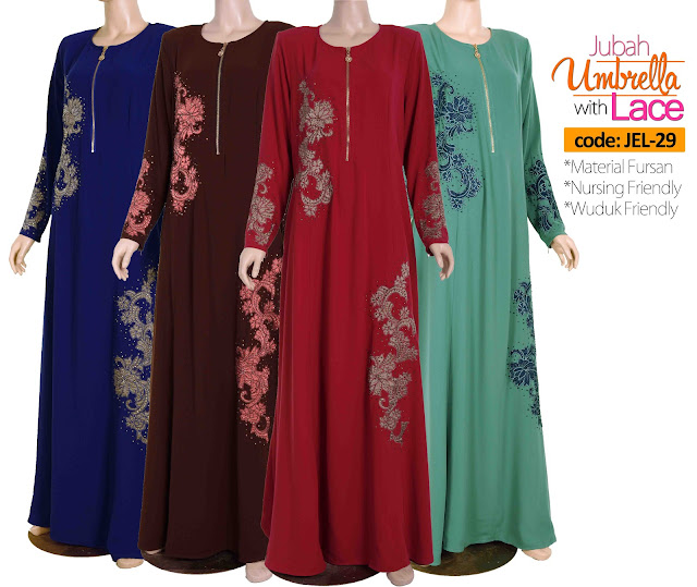 Jubah Umbrella Lace JEL-29 All color