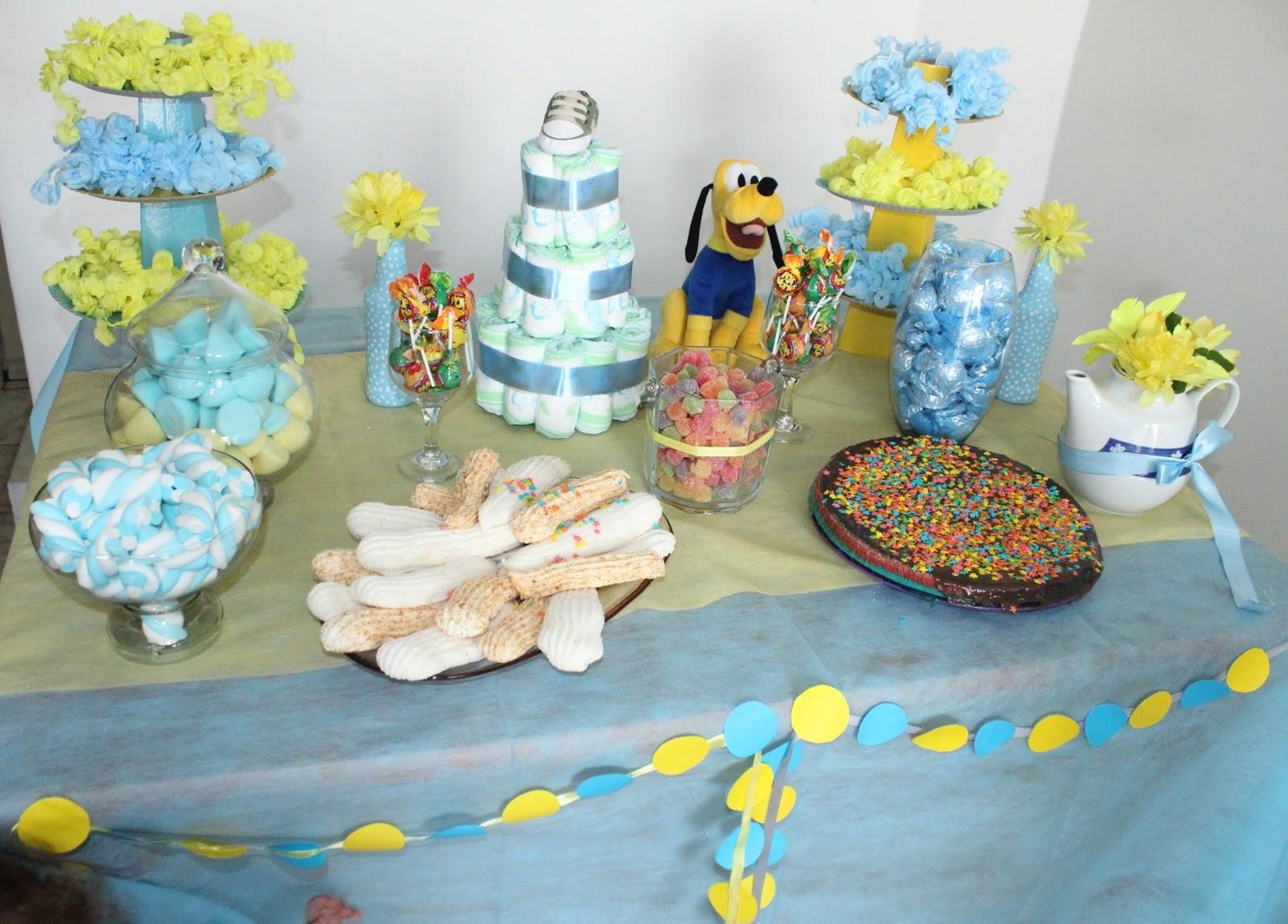 Super Decoração Chá De Fraldas Azul BU53