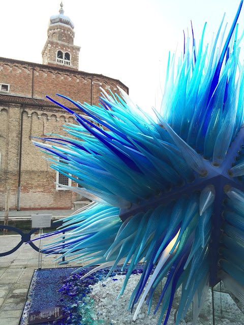 Blue Glass Sculpture in Murano Venice Italy