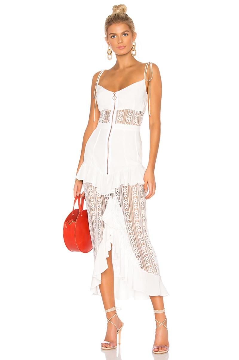 For Love & Lemons 'Lovebird' Lace Midi Dress