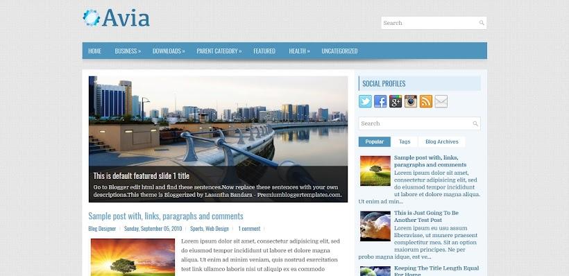 Avia Free Blogger Template