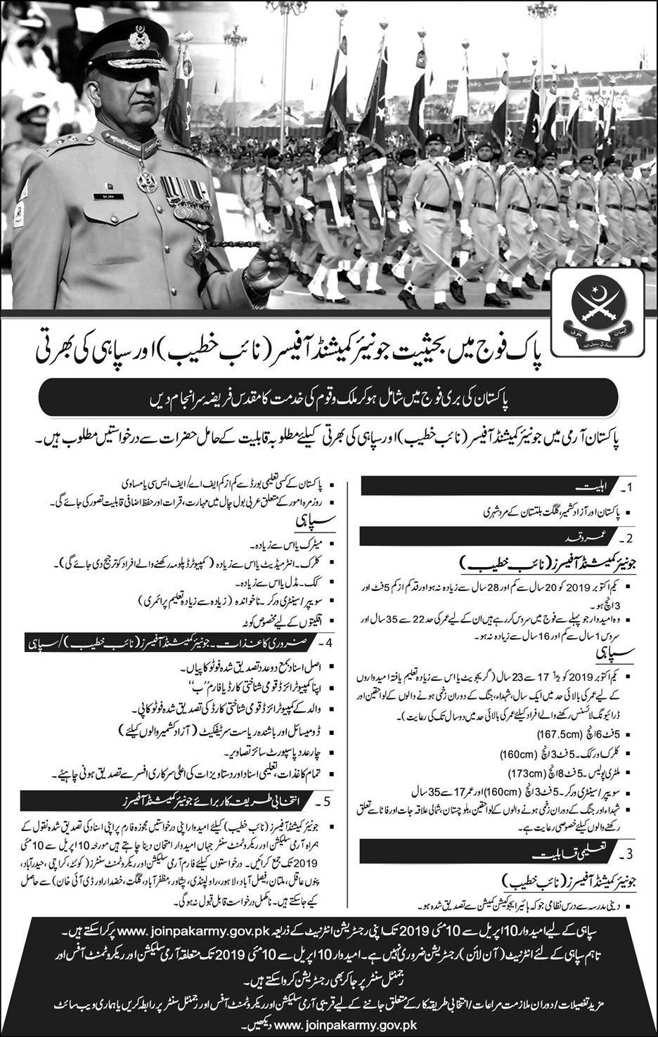 Join Pakistan Army as Junior Commissioned Officers & Sepoy After Matric & Inter