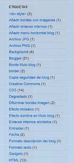 Etiquetas en lista