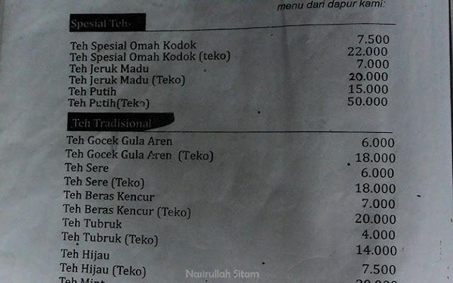 Daftar menu minuman di Omah Kodok