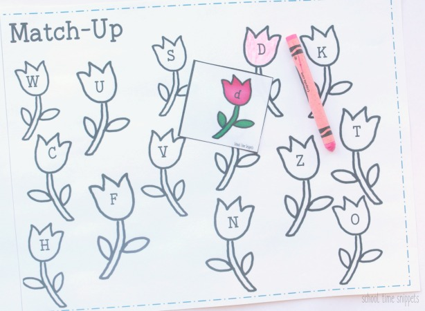 Preschool Match and Color Alphabet Flowers