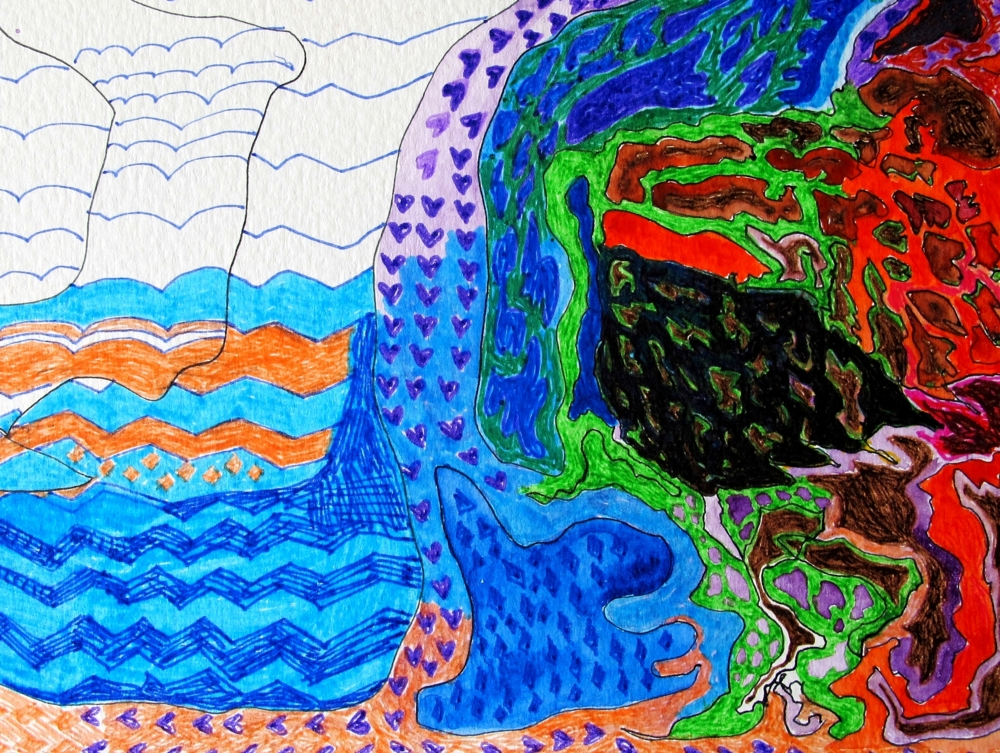 abstract landscape marker pen drawing by susan wellington