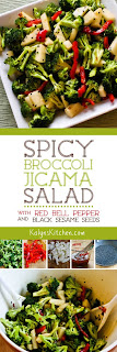 Spicy Broccoli-Jicama Salad with Red Bell Pepper and Black Sesame Seeds from KalynsKitchen.com
