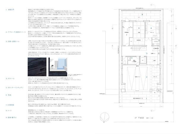 鈍い光沢を放つ金属板のなかに雲のような広がりを持つ家 平面計画1階