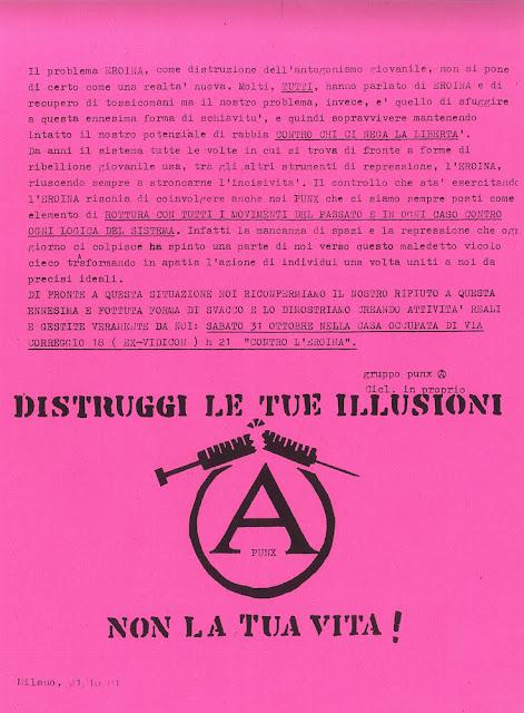 Volantino contro l'eroina Virus Milano