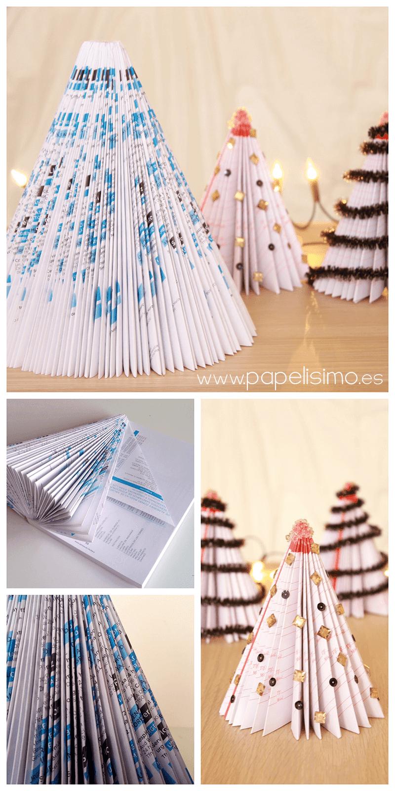 Árvore de natal para decoração feita com papel de revista