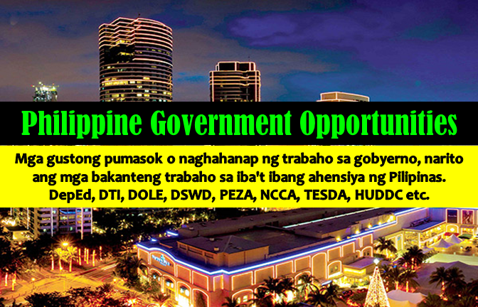 Are you looking for a government job in the Philippines? The following are job vacancies for you. If interested, you may contact the employer/ agency listed below to inquire further or to apply.  JOB VACANCIES 1. INSTITUTIONAL WRITER Recruiter: Design Center of the Philippines PHP 21,000 - PHP 27,300 Min 3 years (1-4 Yrs Experienced Employee) Philippines - National Capital Reg - Pasay City - CCP Complex Website: http://www.designcenter.gov.ph Telephone No.: 8321112, 8323646 WORK LOCATION Address: Design Center of the Philippines Building, CCP Complex, Roxas Blvd, Pasay City  2. REGIONAL FINANCE ASSISTANT Recruitment: Embassy of UK of Great Britain and Northern Ireland Min 1 year (1-4 Yrs Experienced Employee) Philippines - National Capital Reg - Taguig City Website: https://www.gov.uk/government/world/organisations/british-embassy-manila/about/recruitment Telephone No. :63-2-8582366 WORK LOCATION Address: 120 Upper McKinley Road, Taguig City, Metro Manila, Philippines  3. DIRECTOR IV (PUBLIC AFFAIRS SERVICE) Recruiter: Department of Education - Central Office Min 3 years (CEO/SVP/AVP/VP/Director) Philippines - National Capital Reg - Pasig City Website: http://www.deped.gov.ph/ Telephone No.: 02 633 9345, 636 6546, 633 6682 WORK LOCATION Address: DepEd Complex, 4th Floor, Mabini Building Meralco Avenue Pasig City, National Capital Region 1600  4. ADMINISTRATIVE AIDE VI - PHILIPPINE ACCREDITATION BUREAU Recruiter: Department of Trade and Industry Salary: PHP 13,800 - PHP 13,851 Min 1 year (1-4 Yrs Experienced Employee) Philippines - National Capital Reg - Makati City - Sen Gil Puyat Ave., Makati City Website: http://www.dti.gov.ph Telephone No.: 63-2-7510384 WORK LOCATION Address: 361 Senator Gil Puyat Avenue, Makati City, Metro Manila, Philippines  5. DEPARTMENT MANAGER Recruiter: Philippine Economic Zone Authority Min 5 years (Assistant Manager/Manager) Philippines - National Capital Reg - Taguig City Website: http://www.peza.gov.ph/ Telephone No.: 8916423 WORK LOCATION Address: DOE-PNOC Complex Energy Center, Rizal Drive, Bonifacio Global City, Taguig City  6. DRIVER Recruiter: NATIONAL COMMISSION FOR CULTURE AND THE ARTS Salary: PHP 10,000 - PHP 10,500 Min 2 years (1-4 Yrs Experienced Employee) Philippines - National Capital Reg - Manila City - Manila Website: http://www.ncca.gov.ph Telephone No.: 02-5272192-95 WORK LOCATION Address: 633 Gen. Luna Street, Intramuros Manila. National Capital Region 1002  7. EXECUTIVE ASSISTANT II Recruiter: Design Center of the Philippines Salary: PHP 24,000 - PHP 31,200 Min 2 years (1-4 Yrs Experienced Employee) Philippines - National Capital Reg - Pasay City - CCP Complex Website: http://www.designcenter.gov.ph Telephone No.: 8321112, 8323646 WORK LOCATION Address: Design Center of the Philippines Building, CCP Complex, Roxas Blvd, Pasay City  8. SUPERVISING SEC ACCOUNTANT (DEPUTY INSPECTION TEAM LEADER Recruiter: SECURITIES & EXCHANGE COMMISSION Min 5 years (Supervisor/5 Yrs & Up Experienced Employee) Multiple work locations Website: http://www.sec.gov.ph/ Telephone No.: 8185714 WORK LOCATION Address: SEC Building EDSA GHills Mandaluyong  9. SEC ACCOUNTANT II Recruiter: SECURITIES & EXCHANGE COMMISSION Min 3 years (1-4 Yrs Experienced Employee) Multiple work locations Website: http://www.sec.gov.ph/ Telephone No.: 8185714 WORK LOCATION Address: SEC Building EDSA GHills Mandaluyong  10. SEC RECORDS SPECIALIST V (OFFICE OF THE GENERAL COUNSEL) Recruiter: SECURITIES & EXCHANGE COMMISSION Salary: PHP 47,000 - PHP 61,100 Min 1 year (1-4 Yrs Experienced Employee) Philippines - National Capital Reg - Pasay City - PICC Complex Website: http://www.sec.gov.ph/ Telephone No.: 8185714 WORK LOCATION Address: SEC Building EDSA GHills Mandaluyong 11. SECURITIES COUNSEL III Recruiter: SECURITIES & EXCHANGE COMMISSION Min 2 years (1-4 Yrs Experienced Employee) Multiple work locations Website: http://www.sec.gov.ph/ Telephone No.: 8185714 WORK LOCATION Address: SEC Building EDSA GHills Mandaluyong  12. SECURITIES REVIEW COUNSEL Recruiter: SECURITIES & EXCHANGE COMMISSION Min 3 years (1-4 Yrs Experienced Employee) Multiple work locations Website: http://www.sec.gov.ph/ Telephone No.: 8185714 WORK LOCATION Address: SEC Building EDSA GHills Mandaluyong  13. INDUSTRIAL DESIGN ANALYST Recruiter: Design Center of the Philippines Salary: PHP 15,000 - PHP 19,500 Min 1 year (1-4 Yrs Experienced Employee) Philippines - National Capital Reg - Pasay City - CCP Complex Website: http://www.designcenter.gov.ph Telephone No.: 8321112, 8323646 WORK LOCATION Address: Design Center of the Philippines Building, CCP Complex, Roxas Blvd, Pasay City  14. IC INSURANCE SPECIALIST II Recruiter: Insurance Commission Min 2 years (1-4 Yrs Experienced Employee) Philippines - National Capital Reg - Manila City Website: http://www.insurance.gov.ph Telephone No.: 5243548 WORK LOCATION Address: Insurance Commission, 1071 UN Avenue, Ermita, Manila, Metro Manila, Philippines  15. ACCOUNTING STAFF (JOB ORDER) Recruiter: Procurement Service Salary: PHP 19,000 - PHP 19,620 Min 1 year (1-4 Yrs Experienced Employee) Philippines - National Capital Reg - Manila City - Paco Website: http://ps-philgeps.gov.ph/home/index.php/about-ps/careers Telephone No.: 563-9395 WORK LOCATION Address: RR Road Cristobal St. Paco Manila - NC, PH  16. PROCUREMENT MANAGEMENT OFFICER II (TECHNICAL EVALUATOR FOR INFRASTRUCTURE) Recruiter: Procurement Service Salary: PHP 23,267 - PHP 25,232 Min 1 year (Less than 1 year experience) Philippines - National Capital Reg - Manila City - Paco Website: http://ps-philgeps.gov.ph/home/index.php/about-ps/careers Telephone No.: 563-9395 WORK LOCATION Address: RR Road Cristobal St. Paco Manila - NC, PH  17. ACCOUNTING STAFF (JOB ORDER) Recruiter: Procurement Service Salary: PHP 19,000 - PHP 19,620 Min 1 year (1-4 Yrs Experienced Employee) Philippines - National Capital Reg - Manila City - Paco Website: http://ps-philgeps.gov.ph/home/index.php/about-ps/careers Telephone No.: 563-9395 WORK LOCATION Address: RR Road Cristobal St. Paco Manila - NC, PH  18. DRIVER Recruiter: Philippine Economic Zone Authority Min 1 year (1-4 Yrs Experienced Employee) Philippines - National Capital Reg - Taguig City Website: http://www.peza.gov.ph/ Telephone No.: 8916423 WORK LOCATION Address: DOE-PNOC Complex Energy Center, Rizal Drive, Bonifacio Global City, Taguig City  19. INFORMATION OFFICER II (LIBRARIAN) Recruiter: PUBLIC-PRIVATE PARTNERSHIP CENTER OF THE PHILIPPINES Salary: PHP 27,000 - PHP 29,000 Min 1 year (1-4 Yrs Experienced Employee) Philippines - National Capital Reg - Quezon City Website: http://ppp.gov.ph/ Telephone No.: 7094146 WORK LOCATION Address: 8th Floor One Cyberpod Centris EDSA cor. Quezon Avenue, Quezon City, National Capital Region  20. INFORMATION TECHNOLOGY OFFICER I Recruiter: Career Executive Service Board Salary: PHP 39,000 - PHP 42,000 Min 2 years (1-4 Yrs Experienced Employee) Philippines - National Capital Reg - Quezon City Website: http://www.cesboard.gov.ph Telephone No.: 9514981 WORK LOCATION Address: No. 3 Marcelino St. Holy Spirit Drive, Commonwealth, Quezon City  21. ATTORNEY IV (LEGAL SERVICE) Recruiter: Department of Trade and Industry Salary: PHP 55,000 - PHP 58,310 Min 2 years (1-4 Yrs Experienced Employee) Philippines - National Capital Reg - Makati City - Sen. Gil Puyat Ave. Website: http://www.dti.gov.ph Telephone No.: 63-2-7510384 WORK LOCATION Address: 361 Senator Gil Puyat Avenue, Makati City, Metro Manila, Philippines  22. SENIOR LABOR AND EMPLOYMENT OFFICER (ANTICIPATED) Recruiter: Institute for Labor Studies (Dept. of Labor & Employment) Salary: PHP 39,151 - PHP 41,151 Min 2 years (1-4 Yrs Experienced Employee) Philippines - National Capital Reg - Manila City - 5/F DOLE Bldg., Gen. Luna Wing, Intramuros, Manila Website: http://ilsdole.gov.ph Telephone No.: 5273522, 5273511, 5273491 WORK LOCATION Address: 5F DOLE Bldg., General Luna St. Intramuros Manila, National Capital Region 1000  23. SUPERVISING LABOR AND EMPLOYMENT OFFICER Recruiter: Institute for Labor Studies (Dept. of Labor & Employment) Salary: PHP 52,783 - PHP 54,783 Min 3 years (1-4 Yrs Experienced Employee) Philippines - National Capital Reg - Manila City - 5/F DOLE Bldg., Gen. Luna Wing, Intramuros, Manila Website: http://ilsdole.gov.ph Telephone No.: 5273522, 5273511, 5273491 WORK LOCATION Address: 5F DOLE Bldg., General Luna St. Intramuros Manila, National Capital Region 1000  24. CHIEF LABOR AND EMPLOYMENT OFFICER Recruiter: Institute for Labor Studies (Dept. of Labor & Employment) Salary: PHP 64,416 - PHP 76,416 Min 4 years (Supervisor/5 Yrs & Up Experienced Employee) Philippines - National Capital Reg - Manila City - 5/F DOLE Bldg., Gen. Luna Wing, Intramuros, Manila Website: http://ilsdole.gov.ph Telephone No.: 5273522, 5273511, 5273491 WORK LOCATION Address: 5F DOLE Bldg., General Luna St. Intramuros Manila, National Capital Region 1000  25. ADMINISTRATIVE ASSISTANT III Recruiter: Technical Education and Skills Development Authority SALARY: SG-9 Php.16,986.00 PERA: 2,000.00 Min 1 year (1-4 Yrs Experienced Employee) Philippines - National Capital Reg Website: http://www.tesda.gov.ph/ WORK LOCATION Address: 2F TESDA Women's Center, TESDA Complex, West Service Road, Fort Bonifacio, Taguig City  26. TESD SPECIALIST I Recruiter: Technical Education and Skills Development Authority SALARY: SG-13 - Php.23,257.00 PERA: 2,000.00 Less than 1-year experience Philippines - National Capital Reg Website: http://www.tesda.gov.ph/ WORK LOCATION Address:  2F TESDA Women's Center, TESDA Complex, West Service Road, Fort Bonifacio, Taguig City  27. PROJECT EVALUATION OFFICER III Recruiter: Housing and Urban Development Coordinating Council Salary: PHP 33,452 - PHP 43,500 Min 2 years (1-4 Yrs Experienced Employee) Philippines - National Capital Reg - Makati City Telephone No.: 811-4112/811-4467 WORK LOCATION Address:  9/F and 15/F BDO Plaza, Paseo de Roxas St., cor Makati Avenue, Makati City  28. PROJECT EVALUATION OFFICER II Recruiter: Housing and Urban Development Coordinating Council Salary: PHP 26,192 - PHP 34,000 Min 1 year (1-4 Yrs Experienced Employee) Philippines - National Capital Reg - Makati City Telephone No.811-4112/811-4467 WORK LOCATION Address: 9/F and 15/F BDO Plaza, Paseo de Roxas St., cor Makati Avenue, Makati City  29. ADMINISTRATIVE ASSISTANT III Recruiter: Housing and Urban Development Coordinating Council Min 1 year (1-4 Yrs Experienced Employee) Philippines - National Capital Reg - Makati City Telephone No. 811-4112/811-4467 WORK LOCATION Address: 9/F and 15/F BDO Plaza, Paseo de Roxas St., cor Makati Avenue, Makati City  30. ADMINISTRATIVE ASSISTANT I Recruiter: Housing and Urban Development Coordinating Council Min 1 year (1-4 Yrs Experienced Employee) Philippines - National Capital Reg - Makati City Telephone No. 811-4112/811-4467 WORK LOCATION Address: 9/F and 15/F BDO Plaza, Paseo de Roxas St., cor Makati Avenue, Makati City  31. ADMINISTRATIVE AIDE VI Recruiter: Housing and Urban Development Coordinating Council Less than 1-year experience Philippines - National Capital Reg - Makati City Telephone No. 811-4112/811-4467 WORK LOCATION Address: 9/F and 15/F BDO Plaza, Paseo de Roxas St., cor Makati Avenue, Makati City  32. INFORMATION OFFICER I Recruiter: Philippine Council for Health Research and Development (PCHRD) Salary: PHP 18,000 - PHP 20,000 Min 1 year (1-4 Yrs Experienced Employee) Philippines - National Capital Reg - Taguig City Website: http://www.pchrd.dost.gov.ph/ WORK LOCATION Address: 3rd Floor DOST Main Building, General Santos Avenue, Bicutan Taguig City  33. CLERK III Recruiter: Philippine Council for Health Research and Development (PCHRD) Salary: PHP 14,000 - PHP 16,000 Min 1 year (1-4 Yrs Experienced Employee) Philippines - National Capital Reg - Taguig City - Central Bicutan Website: http://www.pchrd.dost.gov.ph/ WORK LOCATION Address: 3rd Floor DOST Main Building, General Santos Avenue, Bicutan Taguig City  34. SENIOR INDUSTRIAL DESIGN SPECIALIST Recruiter: Design Center of the Philippines Salary: PHP 26,000 - PHP 33,800 Min 2 years (1-4 Yrs Experienced Employee) Philippines - National Capital Reg - Pasay City - CCP Complex Website: http://www.designcenter.gov.ph Telephone No.: 8321112, 8323646 WORK LOCATION Address: Design Center of the Philippines Building, CCP Complex, Roxas Blvd, Pasay City  35. TRAINING SPECIALIST III Recruiter: Procurement Service Salary: PHP 35,693 - PHP 40,637 Min 2 years (1-4 Yrs Experienced Employee) Philippines - National Capital Reg - Manila City - Paco Website: http://ps-philgeps.gov.ph/home/index.php/about-ps/careers Telephone No.: 563-9395 WORK LOCATION Address: RR Road Cristobal St. Paco Manila - NC, PH  36. TRAINING SPECIALIST II Recruiter: Procurement Service Salary: PHP 23,267 - PHP 25,232 Less than 1-year experience Philippines - National Capital Reg - Manila City - Paco Website: http://ps-philgeps.gov.ph/home/index.php/about-ps/careers Telephone No.: 563-9395 WORK LOCATION Address: RR Road Cristobal St. Paco Manila - NC, PH  37. PROCUREMENT MANAGEMENT OFFICER I (TECHNICAL EVALUATOR) Recruiter: Procurement Service Salary: PHP 19,620 - PHP 20,754 Less than 1-year experience Philippines - National Capital Reg - Manila City - Paco Website: http://ps-philgeps.gov.ph/home/index.php/about-ps/careers Telephone No.: 563-9395 WORK LOCATION Address: RR Road Cristobal St. Paco Manila - NC, PH  38. COMPUTER MAINTENANCE TECHNOLOGIST II Recruiter: Procurement Service Salary: PHP 27,565 - PHP 30,531 Min 1 year (1-4 Yrs Experienced Employee) Philippines - National Capital Reg - Manila City - Paco Website: http://ps-philgeps.gov.ph/home/index.php/about-ps/careers Telephone No.: 563-9395 WORK LOCATION Address: RR Road Cristobal St. Paco Manila - NC, PH  39. PROCUREMENT MANAGEMENT OFFICER I (TECHNICAL INSPECTOR) Recruiter: Procurement Service Salary: PHP 19,620 - PHP 20,754 Less than 1-year experience Philippines - National Capital Reg - Manila City - Paco Website: http://ps-philgeps.gov.ph/home/index.php/about-ps/careers Telephone No.: 563-9395 WORK LOCATION Address: RR Road Cristobal St. Paco Manila - NC, PH  40. COMPUTER PROGRAMMER II Recruiter: Procurement Service Salary: PHP 27,565 - PHP 30,531 Min 1 year (1-4 Yrs Experienced Employee) Philippines - National Capital Reg - Manila City - Paco Website: http://ps-philgeps.gov.ph/home/index.php/about-ps/careers Telephone No.: 563-9395 WORK LOCATION Address:  RR Road Cristobal St. Paco Manila - NC, PH  41. LEGAL OFFICER Recruiter: SMALL BUSINESS GUARANTEE & FINANCE CORPORATION Min 4 years (Supervisor/5 Yrs & Up Experienced Employee) Philippines - National Capital Reg Website: http://www.sbgfc.org.ph/ Telephone No. (02) 7511-888/ Fax: (02) 813-5727 WORK LOCATION Address: 17th Floor 139 Corporate Center, 139 Valero St., Salcedo Village, Makati City  42. MONITORING AND EVALUATION OFFICER III Recruiter: DSWD Field Office IV-A Salary: PHP 39,000 - PHP 50,700 Min 2 years (1-4 Yrs Experienced Employee) Philippines - National Capital Reg - Muntinlupa City Website: http://www.fo4a.dswd.gov.ph Telephone No.: 8074140  43. ASSOCIATE CONSTRUCTION MANAGER (FOR METROPOLITAN THEATER) Recruiter: NATIONAL COMMISSION FOR CULTURE AND THE ARTS Salary: PHP 35,000 - PHP 40,000 Min 10 years (Assistant Manager/Manager) Philippines - National Capital Reg - Manila City - Manila Website: http://www.ncca.gov.ph Telephone No.: 02-5272192-95 WORK LOCATION Address: 633 Gen. Luna Street, Intramuros Manila. National Capital Region 1002  44. SENIOR CONSTRUCTION MANAGER (FOR METROPOLITAN THEATER) Recruiter: NATIONAL COMMISSION FOR CULTURE AND THE ARTS Salary: PHP 55,000 - PHP 60,000 Min 10 years (CEO/SVP/AVP/VP/Director) Philippines - National Capital Reg - Manila City - iIntramuros manila Website: http://www.ncca.gov.ph Telephone No.: 02-5272192-95 WORK LOCATION Address: 633 Gen. Luna Street, Intramuros Manila. National Capital Region 1002  45. FINANCIAL ANALYST III (IT OFFICER) Recruiter: DSWD Field Office IV-A Salary: PHP 39,000 - PHP 50,700 Min 1 year (1-4 Yrs Experienced Employee) Philippines - National Capital Reg - Muntinlupa City - Alabang Website: http://www.fo4a.dswd.gov.ph Telephone No.: 8074140  46. SECRETARY Recruiter: Philippine Economic Zone Authority Min 1 year (1-4 Yrs Experienced Employee) Philippines - National Capital Reg - Taguig City Website: http://www.peza.gov.ph/ Telephone No.: 8916423 WORK LOCATION Address: DOE-PNOC Complex Energy Center, Rizal Drive, Bonifacio Global City, Taguig City  47. IC SUPERVISING INSURANCE SPECIALIST Recruiter: Insurance Commission Min 3 years (Supervisor/5 Yrs & Up Experienced Employee) Philippines - National Capital Reg - Manila City Website: http://www.insurance.gov.ph Telephone No.: 5243548 WORK LOCATION Address: Insurance Commission, 1071 UN Avenue, Ermita, Manila, Metro Manila, Philippines  48. IC INSURANCE SPECIALIST II Recruiter: Insurance Commission Min 2 years (1-4 Yrs Experienced Employee) Philippines - National Capital Reg - Manila City Website: http://www.insurance.gov.ph Telephone No.: 5243548 WORK LOCATION Address: Insurance Commission, 1071 UN Avenue, Ermita, Manila, Metro Manila, Philippines  49. IC ADMINISTRATIVE OFFICER II Recruiter: Insurance Commission Min 2 years (1-4 Yrs Experienced Employee) Philippines - National Capital Reg - Manila City Website: http://www.insurance.gov.ph Telephone No.: 5243548 WORK LOCATION Address: Insurance Commission, 1071 UN Avenue, Ermita, Manila, Metro Manila, Philippines  50. IC SENIOR INSURANCE SPECIALIST Recruiter: Insurance Commission Min 3 years (1-4 Yrs Experienced Employee) Philippines - National Capital Reg - Manila City Website: http://www.insurance.gov.ph Telephone No.: 5243548 WORK LOCATION Address: Insurance Commission, 1071 UN Avenue, Ermita, Manila, Metro Manila, Philippines  51. INTERNAL AUDITOR IV (OPERATIONS) Recruiter: Credit Information Corporation Salary: PHP 42,652 - PHP 46,047 Min 6 years (Supervisor/5 Yrs & Up Experienced Employee) Philippines - National Capital Reg - Makati City WORK LOCATION Address: Exchange Corner Building Rufino St.  52. CHIEF MARKETING SPECIALIST Recruiter: Credit Information Corporation Salary: PHP 42,652 - PHP 46,047 Min 4 years (Supervisor/5 Yrs & Up Experienced Employee) Philippines - National Capital Reg - Makati City WORK LOCATION Address: Exchange Corner Building Rufino St.  53. DATA QUALITY CONTROLLER Recruiter: Credit Information Corporation Salary: PHP 21,436 - PHP 22,982 Min 2 years (1-4 Yrs Experienced Employee) Philippines - National Capital Reg - Makati City WORK LOCATION Address: Exchange Corner Building Rufino St.  54. DATA CONTROLLER IV (CUSTOMER CARE ASSISTANT) Recruiter: Credit Information Corporation Salary: PHP 21,436 - PHP 22,982 Min 2 years (1-4 Yrs Experienced Employee) Philippines - National Capital Reg - Makati City WORK LOCATION Address: Exchange Corner Building Rufino St.  55. ADMINISTRATIVE OFFICER IV (PROCUREMENT OFFICER) Recruiter: Credit Information Corporation Salary: PHP 24,887 - PHP 26,868 Min 2 years (1-4 Yrs Experienced Employee) Philippines - National Capital Reg - Makati City WORK LOCATION Address: Exchange Corner Building Rufino St.  56. INTERNAL AUDITOR V (INTERNAL AUDIT HEAD) Recruiter: Credit Information Corporation Salary: PHP 49,750 - PHP 53,709 Min 4 years (Assistant Manager/Manager) Philippines - National Capital Reg - Makati City WORK LOCATION Address: Exchange Corner Building Rufino St.  57. INFORMATION TECHNOLOGY OFFICER II (TECHNICAL SUPPORT ASSISTANT) Recruiter: Credit Information Corporation Salary: PHP 42,652 - PHP 46,047 Min 6 years (Supervisor/5 Yrs & Up Experienced Employee) Philippines - National Capital Reg - Makati City WORK LOCATION Address: Exchange Corner Building Rufino St.  58. INFORMATION TECHNOLOGY OFFICER III (SENIOR BUSINESS ANALYST) Recruiter: Credit Information Corporation Salary: PHP 49,750 - PHP 53,709 Min 8 years (Assistant Manager/Manager) Philippines - National Capital Reg - Makati City WORK LOCATION Address: Exchange Corner Building Rufino St.  59. DEPARTMENT MANAGER III (TECHNICAL SUPPORT HEAD) Recruiter: Credit Information Corporation Salary: PHP 58,028 - PHP 62,646 Min 10 years (Assistant Manager/Manager) Philippines - National Capital Reg - Makati City WORK LOCATION Address: Exchange Corner Building Rufino St.  60. ADMINISTRATIVE ASSISTANT II (FRONTLINER) Recruiter: Department of Trade and Industry Salary: PHP 18,000 - PHP 18,442 Min 1 year (Less than 1 year experience) Philippines - National Capital Reg - Makati City - Sen. Gil Puyat Avenue Website: http://www.dti.gov.ph Telephone No.: 63-2-7510384 WORK LOCATION Address: 361 Senator Gil Puyat Avenue, Makati City, Metro Manila, Philippines  SOURCE: www.jobstreet.com.ph  DISCLAIMER: Thoughtskoto is not affiliated to any of these companies. The information gathered here is verified and gathered from the jobstreet website.