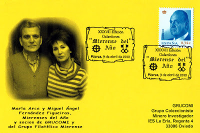 Tarjeta del matasellos dedicado a los premios Mierenses del Año