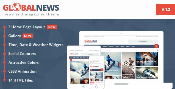 Globalnews - News & Magazine HTML5 Template - Free html