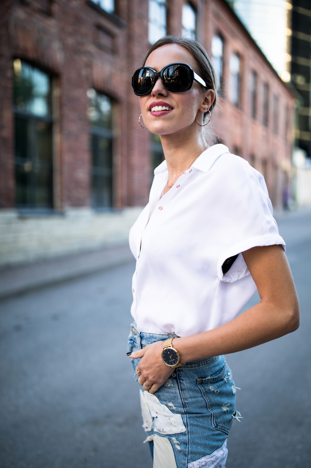white oversized silk shirt outfit