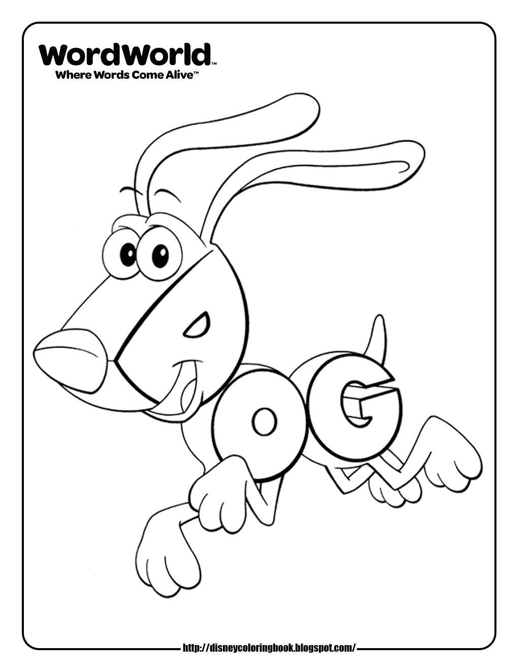 Disney Coloring Pages and Sheets for Kids: WordWorld 1
