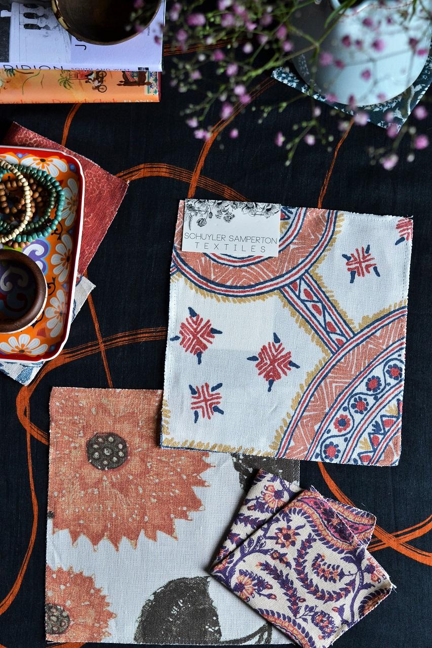 Schuyler Samperton Textiles, designs: Nellcote, Cordoba, Celandine · Lisa Hjalt