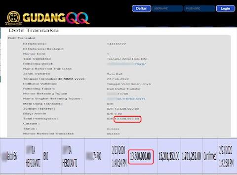 Selamat Kepada Member Setia GudangQQ WD sebesar Rp. 13,500,000.-
