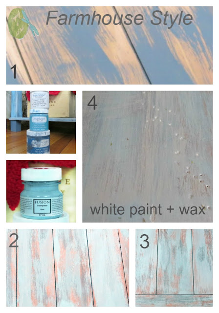 Farmhouse Style Pinterest image Layers of Dry Brushing Shades of Blue Nightstand