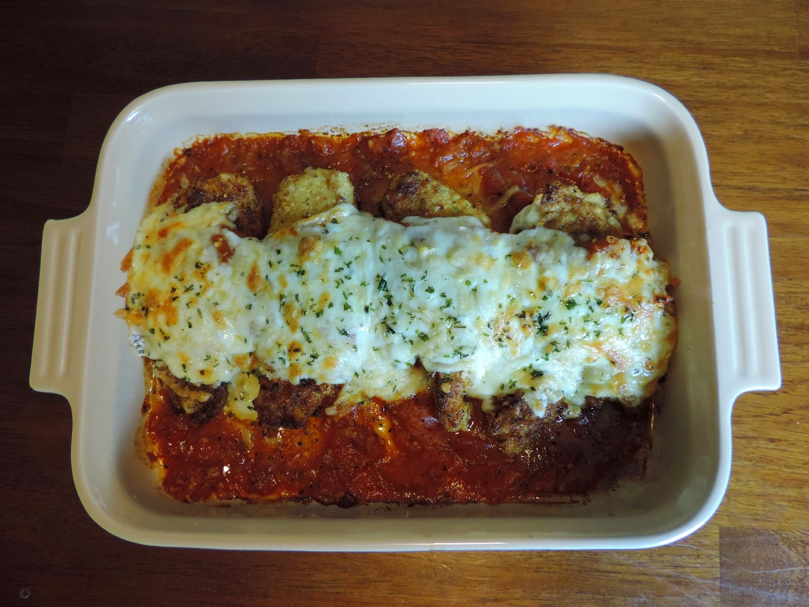 The finished chicken parmesan.