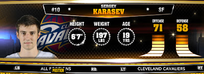 NBA 2K13 Cavs Sergey Karasev - Round 1 19th Overall