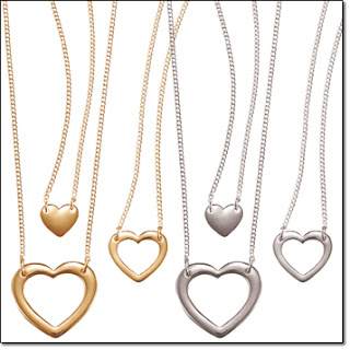 goldtone heart necklace trio, silvertone  heart necklace trio