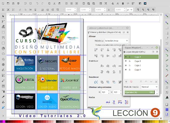 Alinear, Líneas guías y Capas en Inkscape