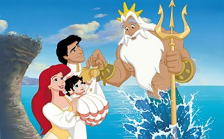 King Triton and Eric's family The Little Mermaid 2 2000 animatedfilmreviews.filminspector.com