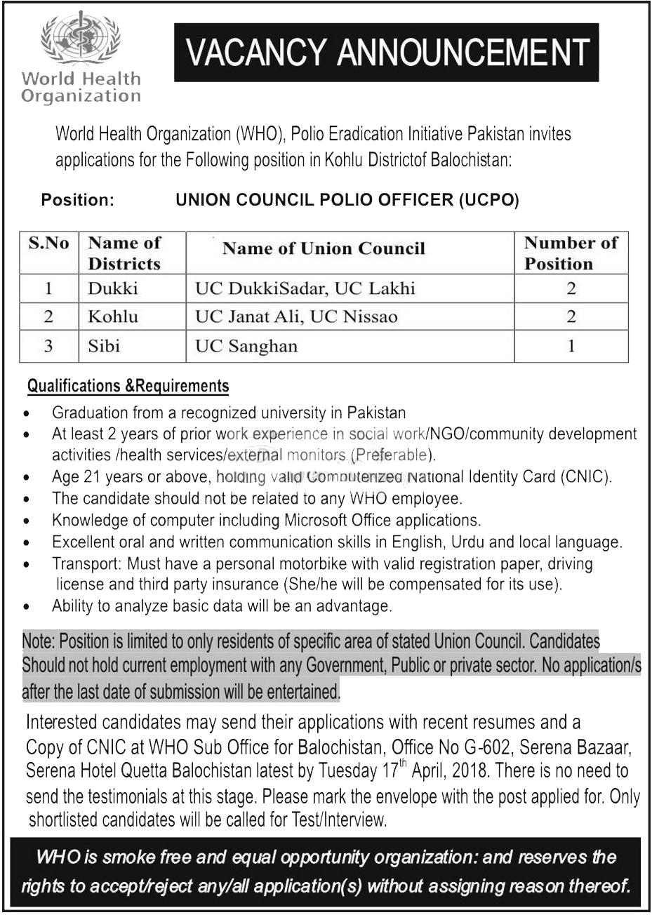 World Health Organization WHO Quetta Jobs 2018