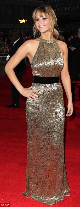 Jennifer Lawrence in a gold Ralph Lauren dress 02