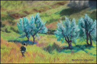 Childhood in Casignano Tuscany Italy Pastel Painting Drawing Boy Running in Olive Grove
