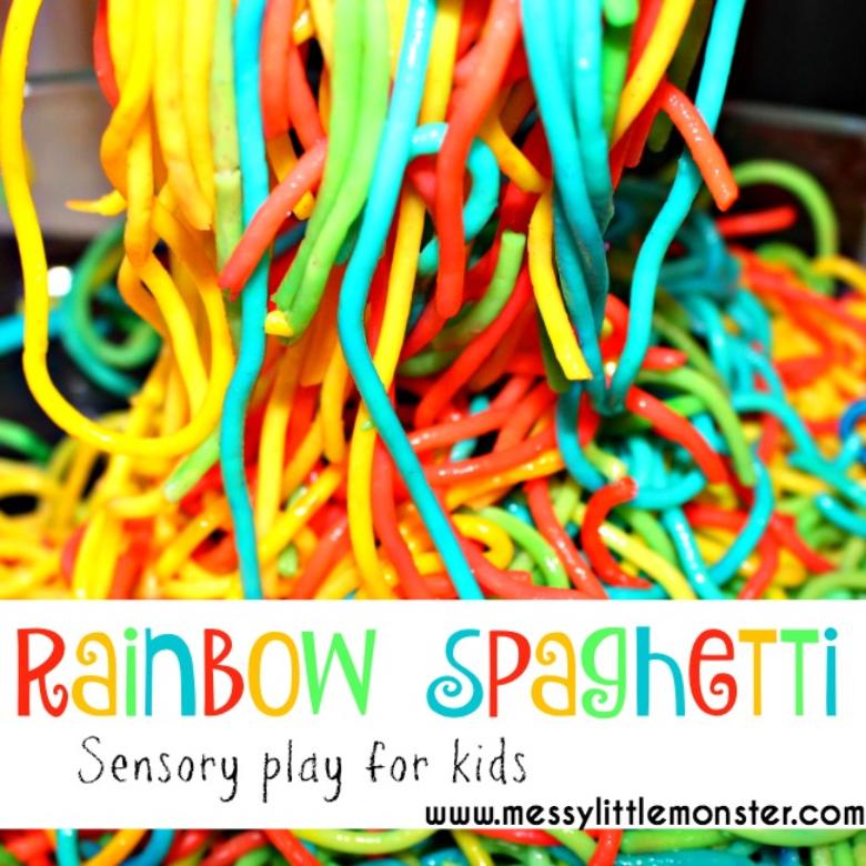How to Dye Rainbow Spaghetti for Sensory Play