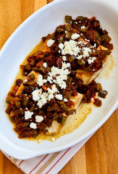 Pan-Seared and Roasted Mahi Mahi with Mediterranean Salsa and Feta found on KalynsKitchen.com