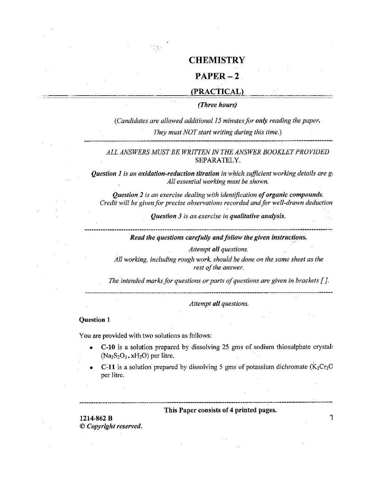 isc 2014 class 12th chemistry Practical question paper